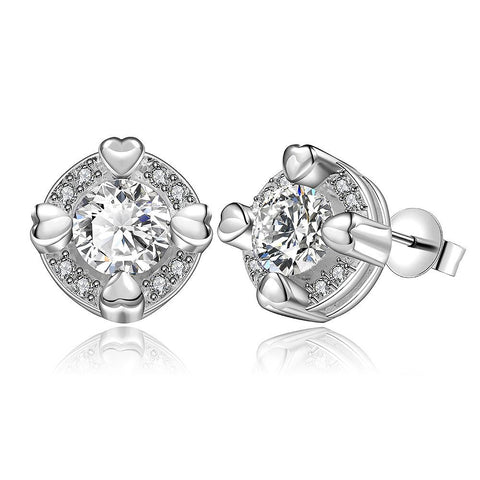 Sterling Silver Crystal Heart Surronding Stud Earring - rubiquejewelry.com