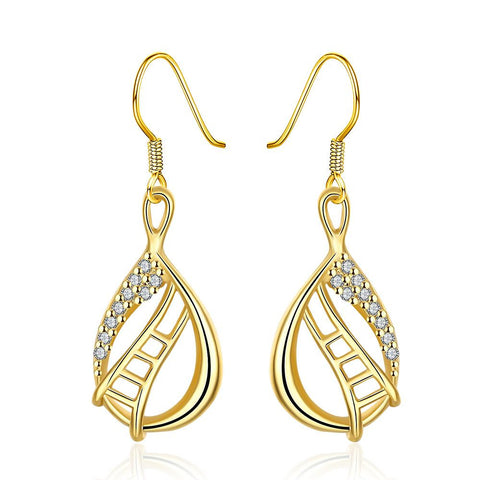 Gold Plated Stairway to Heaven Drop Down Earrings - rubiquejewelry.com