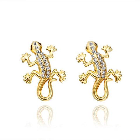 18K Gold Salamander Stud Earrings Made with Swarovksi Elements - rubiquejewelry.com