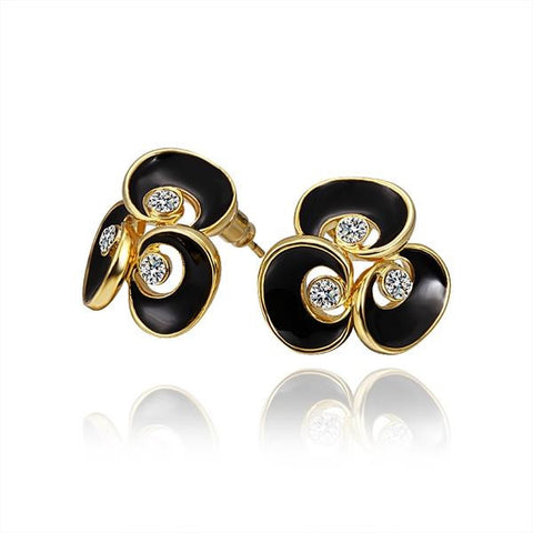 18K Gold Floral Stud Earrings with Onyx Covering Made with Swarovksi Elements - rubiquejewelry.com