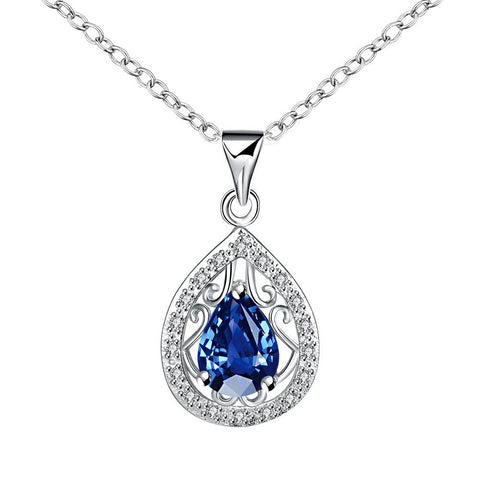 Curved Sapphire Pendant Drop Necklace - rubiquejewelry.com