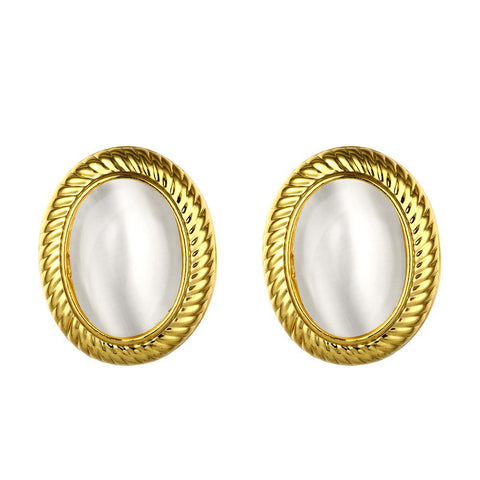 18K Gold Roman Inspired Stud Earrings Made with Swarovksi Elements - rubiquejewelry.com