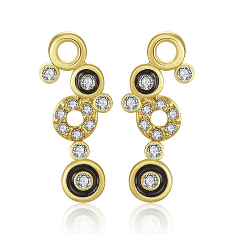 18K Gold Multiple Circle Drop Down Earrings Made with Swarovksi Elements - rubiquejewelry.com
