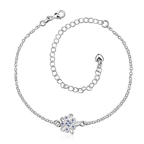 Mock Sapphire Orchid Petite Anklet - rubiquejewelry.com