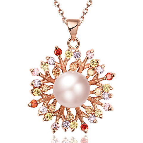 Rose Gold Plated Blossoming Pearl Necklace - rubiquejewelry.com
