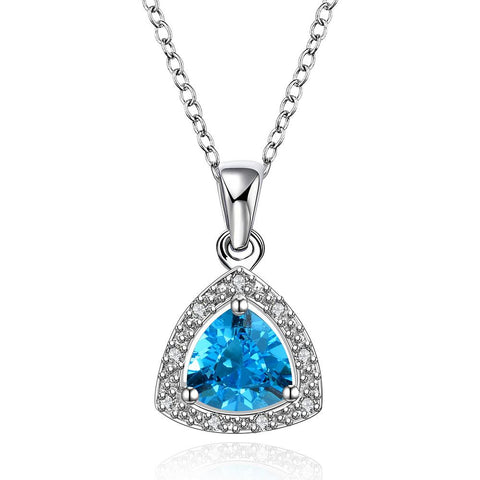 Mock Sapphire Pyramid Shaped Jewels Insert Necklace made with Swarovski Elements - rubiquejewelry.com