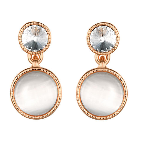 18K Rose Gold Double Pearls Drop Earrings Made with Swarovksi Elements - rubiquejewelry.com
