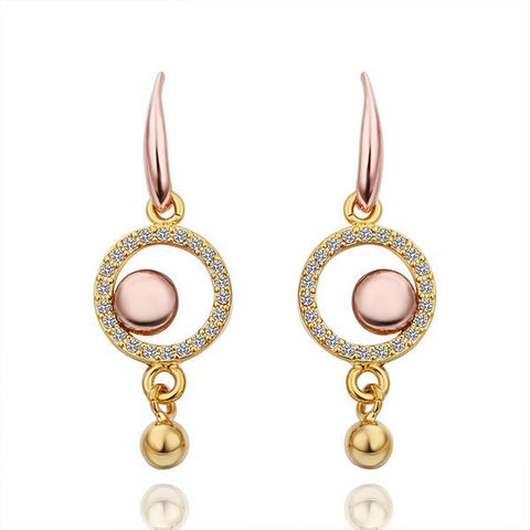 18K Gold Hollow Circle Drop Down Earrings Made with Swarovksi Elements - rubiquejewelry.com