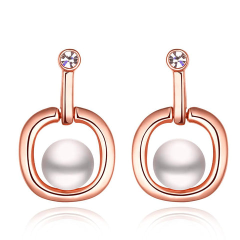 18K Rose Gold Abstract Shaped Drop Down Earrings Made with Swarovksi Elements - rubiquejewelry.com