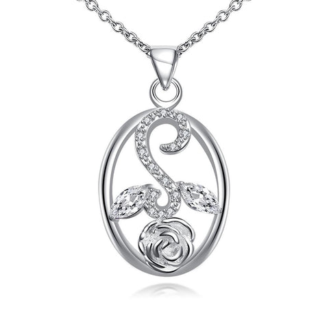 Crystal Jewels Leaf Spiral Jewels Pendant Drop Necklace - rubiquejewelry.com