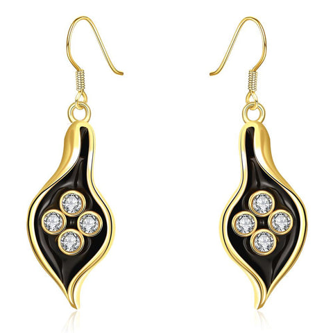 18K Gold Drop Down Leaf Branch Earrings Made with Swarovksi Elements - rubiquejewelry.com