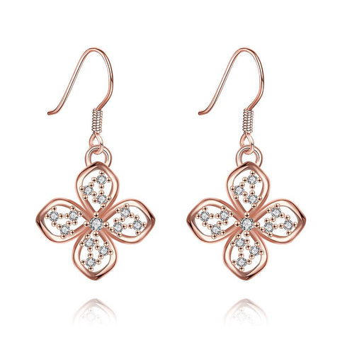Rose Gold Plated Hollow Clover Drop Down Earrings - rubiquejewelry.com