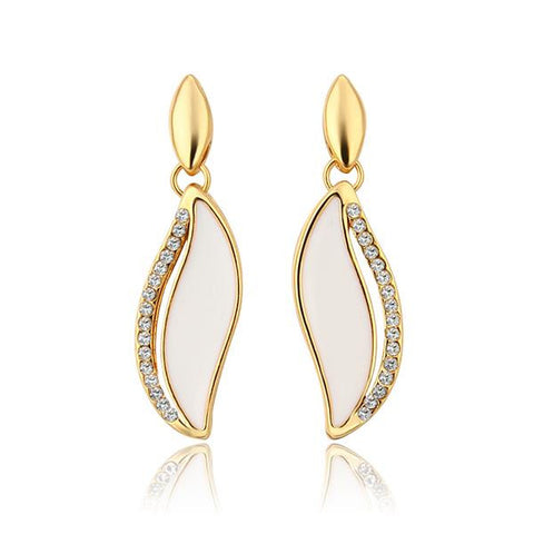 18K Gold Ivory Covered Drop Down Earrings Made with Swarovksi Elements - rubiquejewelry.com