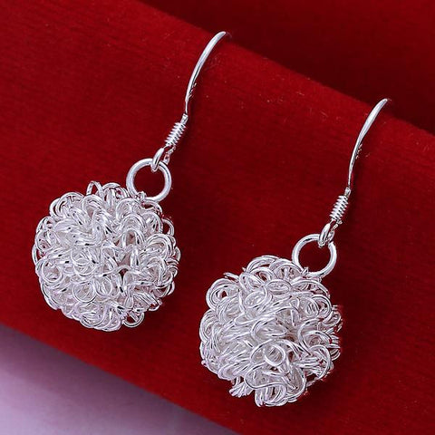 Sterling Silver Blossoming Ball Drop Earring - rubiquejewelry.com