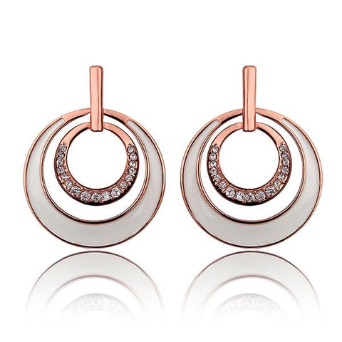18K Rose Gold Ivory Layering Spiral Circle Earrings Made with Swarovksi Elements - rubiquejewelry.com
