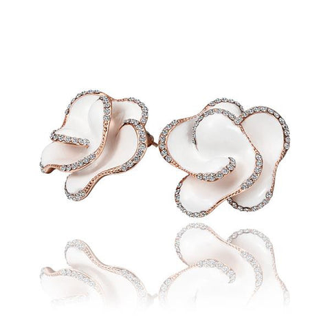 18K Rose Gold Ivory Colored Rose Petal Stud Earrings Made with Swarovksi Elements - rubiquejewelry.com