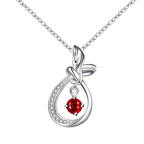 Curved Abstract Dangling Ruby Drop Necklace - rubiquejewelry.com