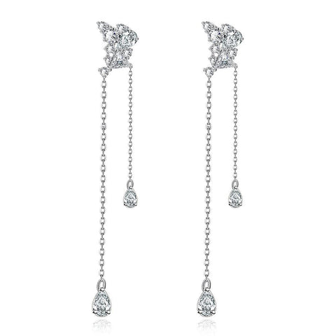 White Gold Plated Duo Dangling Earrings - rubiquejewelry.com