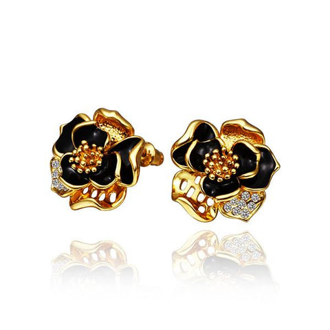 18K Gold Onyx Covered Rose Petals Stud Earrings Made with Swarovksi Elements - rubiquejewelry.com