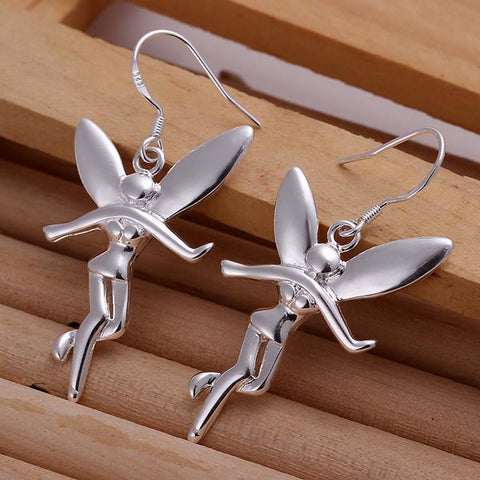 Sterling Silver Drop Angels Earring - rubiquejewelry.com