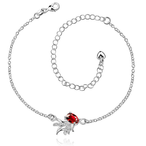 Ruby Red Leaf Branch Pettie Anklet - rubiquejewelry.com