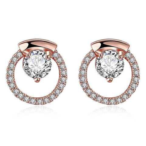 Rose Gold Plated Circular Studs - rubiquejewelry.com