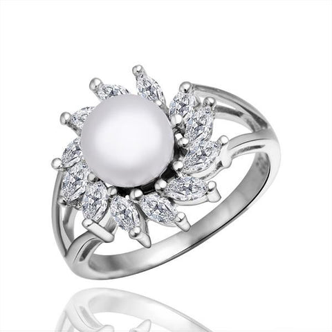 White Gold Plated Cultured Pearl Blossoming Spiral Ring - rubiquejewelry.com