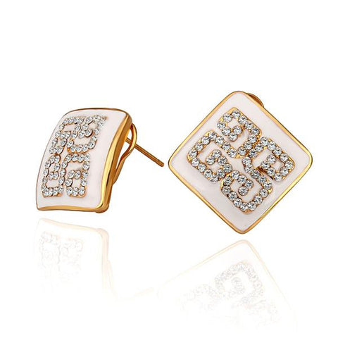 18K Gold Ivory Layering Crystal Design Studs Made with Swarovksi Elements - rubiquejewelry.com