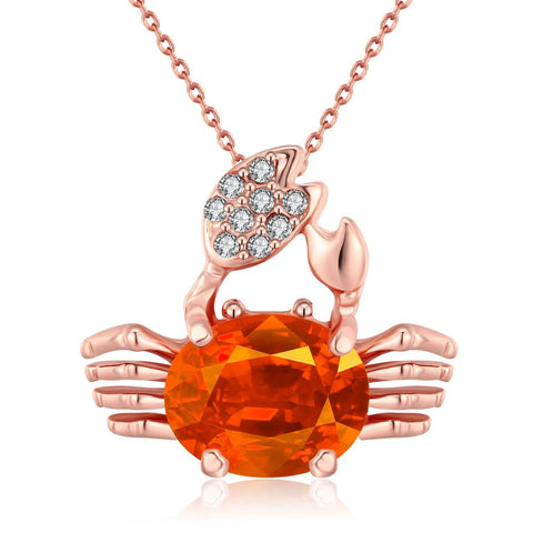 18K Rose Gold Plated Citrine CrabNecklace - rubiquejewelry.com