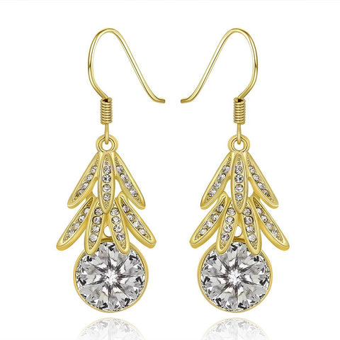 18K Gold Dangling Leaves Drop Down Earrings Made with Swarovksi Elements - rubiquejewelry.com