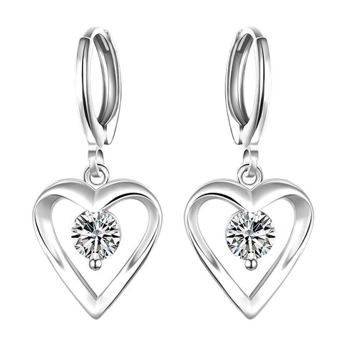 Sterling Silver Drop Hollow Heart Stone Earring - rubiquejewelry.com