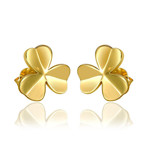 18K Gold Clean Plate Clover Shaped Stud Earrings Made with Swarovksi Elements - rubiquejewelry.com