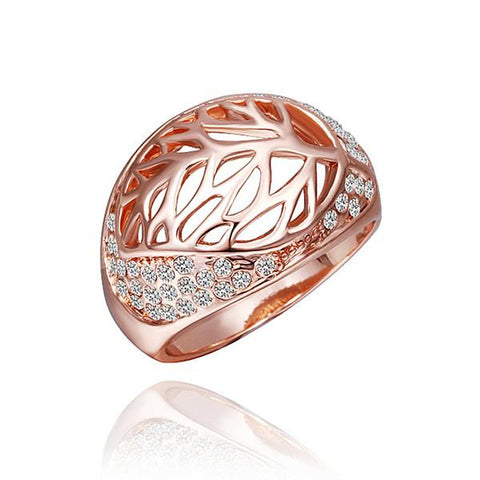 Rose Gold Plated Laser Cut Round Diamond Jewels Covering Ring - rubiquejewelry.com