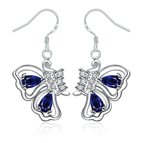 Mock Sapphire Butterfly Wings Drop Earrings - rubiquejewelry.com