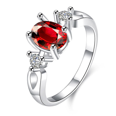 Petite Ruby Red Gem Duo Stone Ring - rubiquejewelry.com