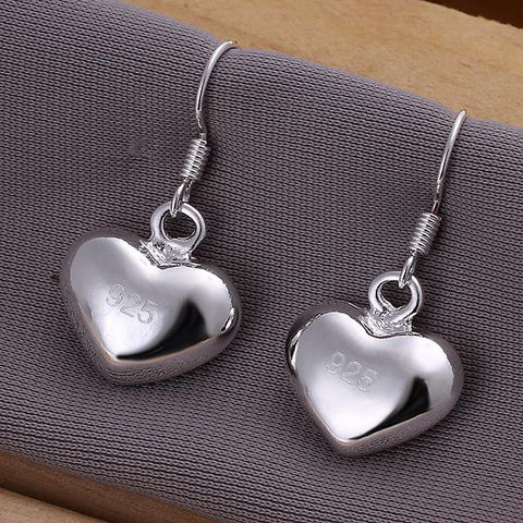 Sterling Silver Heart Shaped Drop Earring - rubiquejewelry.com