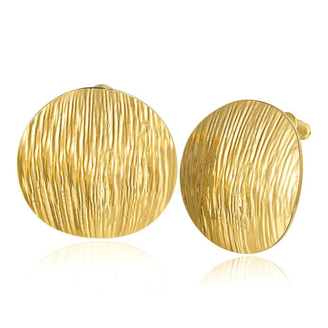 18K Gold Curved Surface Stud Earrings Made with Swarovksi Elements - rubiquejewelry.com