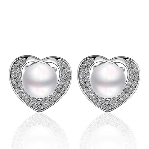 Cultured Pearl Heart Shaped Stud Earrings - rubiquejewelry.com