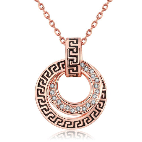 18K Rose Gold Plated Medallion StyleNecklace - rubiquejewelry.com