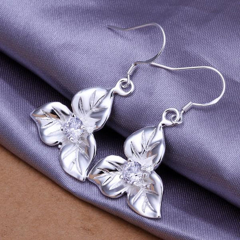Sterling Silver Tri-Floral Petal Earring - rubiquejewelry.com