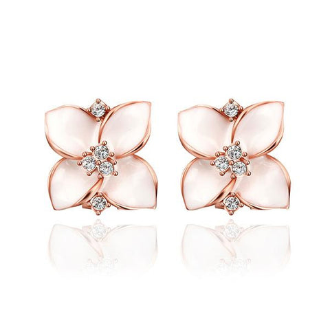 18K Rose Gold Classic Ivory Rose Petal Earrings Made with Swarovksi Elements - rubiquejewelry.com