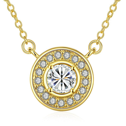 Gold Plated Circular Crystal * Pendant Necklace - rubiquejewelry.com