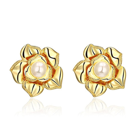 18K Gold Blossoming Petal Stud Earrings Made with Swarovksi Elements - rubiquejewelry.com