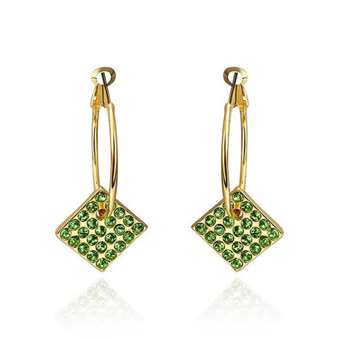 18K Gold Drop Down Earrings with Emerald Jewels Made with Swarovksi Elements - rubiquejewelry.com