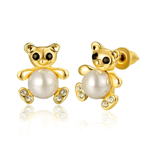 18K Gold Mini Petite Teddy Bear Stud Earrings Made with Swarovksi Elements - rubiquejewelry.com