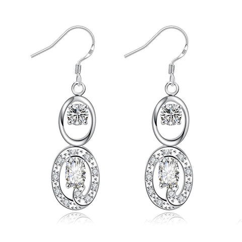 Crystal Stone Duo Drop Dangling Earrings - rubiquejewelry.com