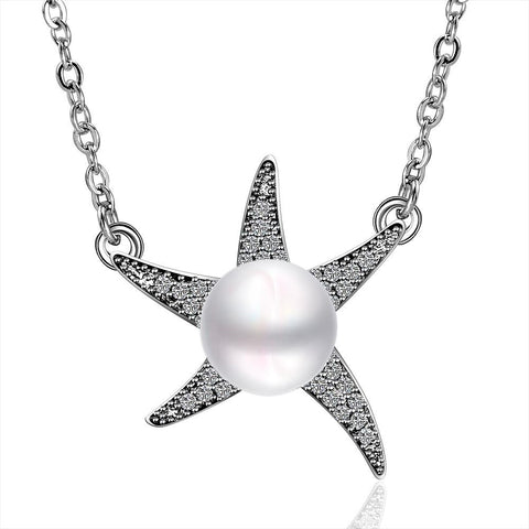 Cultured Pearl Star Shaped Necklace - rubiquejewelry.com