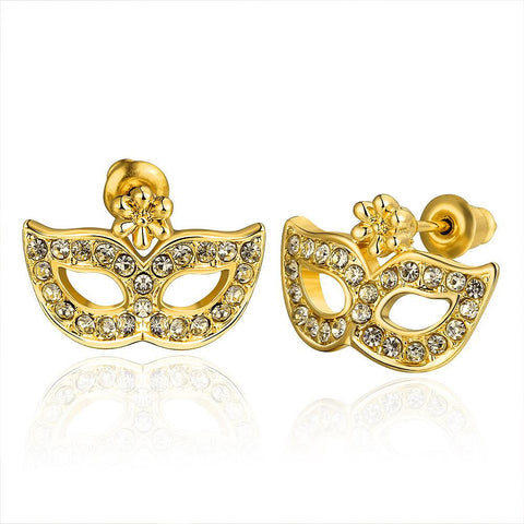 18K Gold Mask Shaped Stud Earrings Made with Swarovksi Elements - rubiquejewelry.com