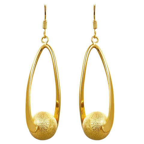 Gold Plated Ball Drop Down Earrings - rubiquejewelry.com