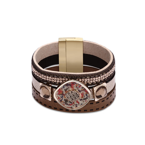 Swarovski Crystal Vegan Leather Bracelets - Style 328